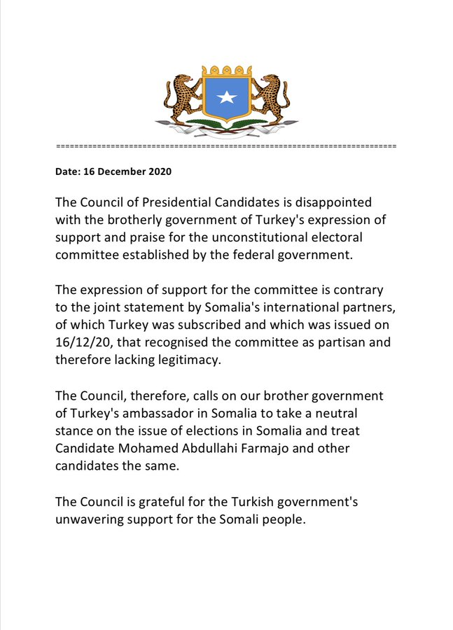 """axadle wararka maanta » turkey cautioned in opposition to """"meddling"""" with somalia's electoral course of"""