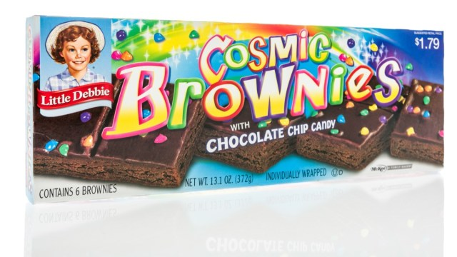 box of cosmic brownies on a white background
