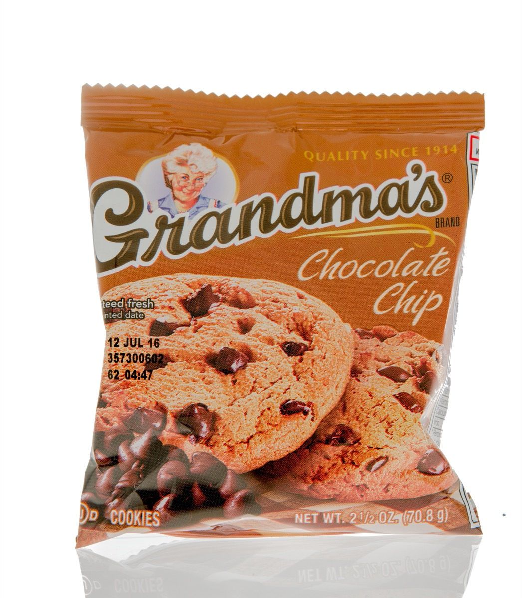 package of grandma's cookies on white background