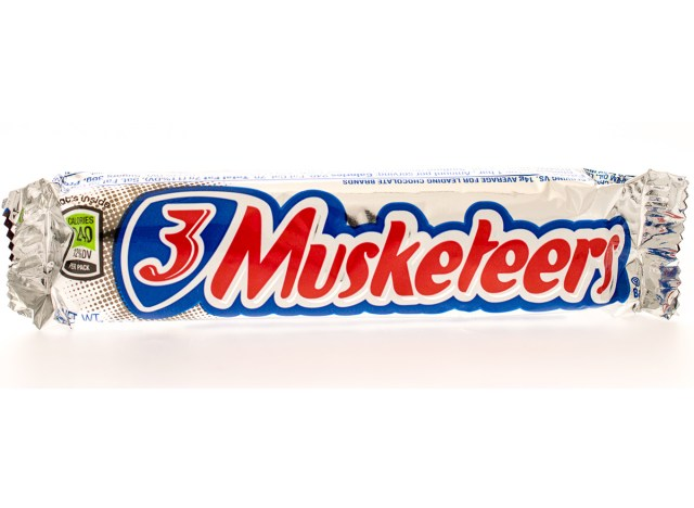 three musketeers bar wrapped on white background