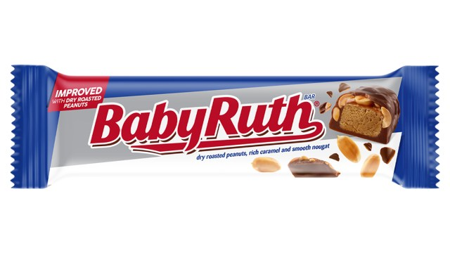baby ruth candy bar wrapped on white background