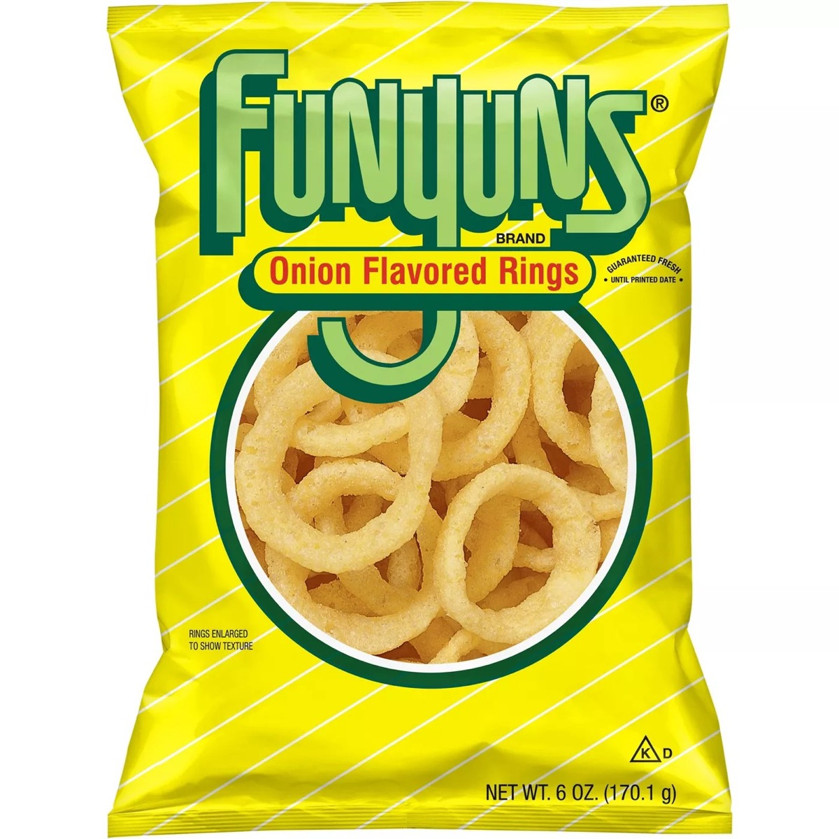 yellow bag of funyuns onion flavored rings on white background